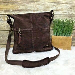 The Sak Brown Suede Leather Crossbody Purse Bag